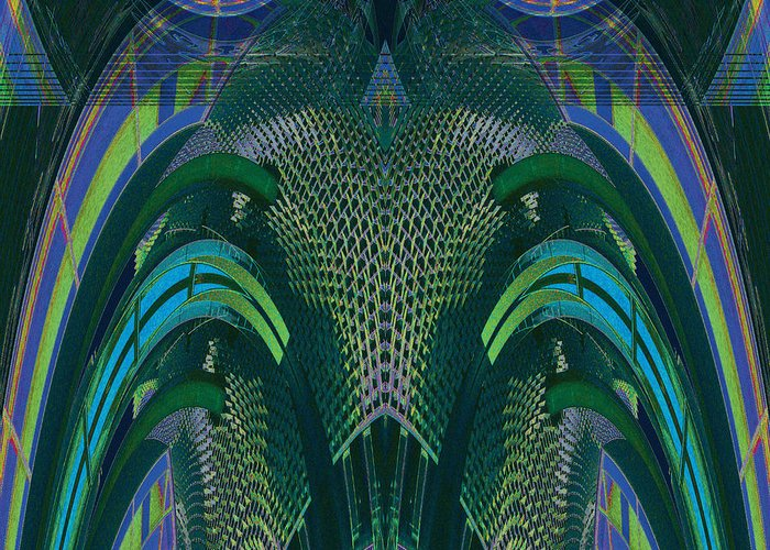 Abstract Greeting Card featuring the digital art Armadillus Rex by Bill Jonas