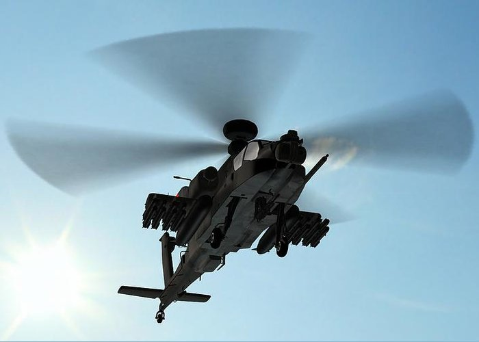 Wind Greeting Card featuring the photograph Armed Longbow Apache Helicopter In by Bestgreenscreen