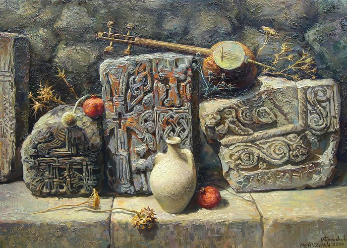 The Armenian Stones Greeting Card featuring the painting Armenian Stones by Meruzhan Khachatryan
