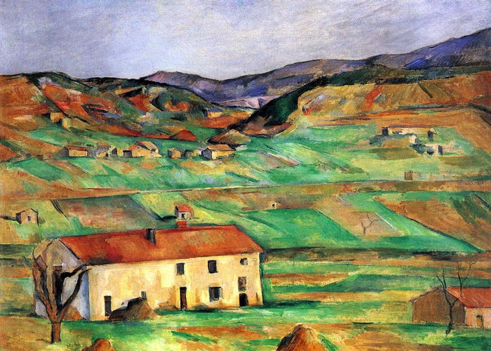 Greeting Card featuring the ceramic art Around Gardanne By Cezanne by John Peter