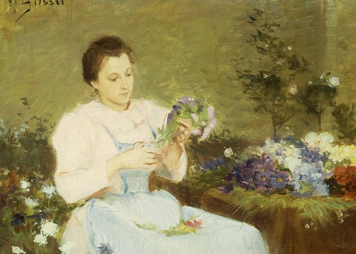 Arranging; Flowers; Flower; Spring; Bouquet; Posy; Floral; Girl; Female; Youth; Young; Seated; Apron; Florist; Floristry; Concentrating; Concentration; Impressionist-style; Loose; Handling; Painterly; Impressionistic; Impressionist Greeting Card featuring the painting Arranging Flowers For A Spring Bouquet by Victor Gabriel Gilbert