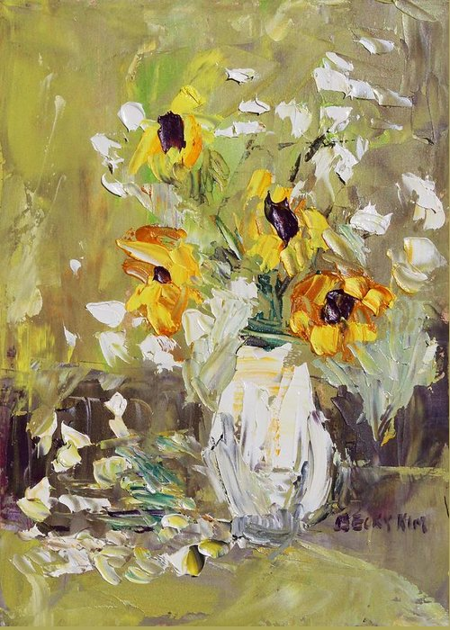 Still Life Greeting Card featuring the painting Arrival by Becky Kim