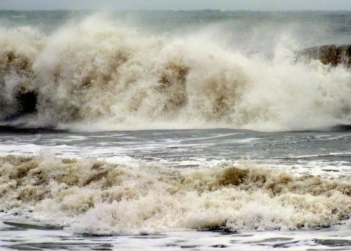 Hurricane Sandy Greeting Card featuring the photograph Arrival Of Sandy by Karen Wiles