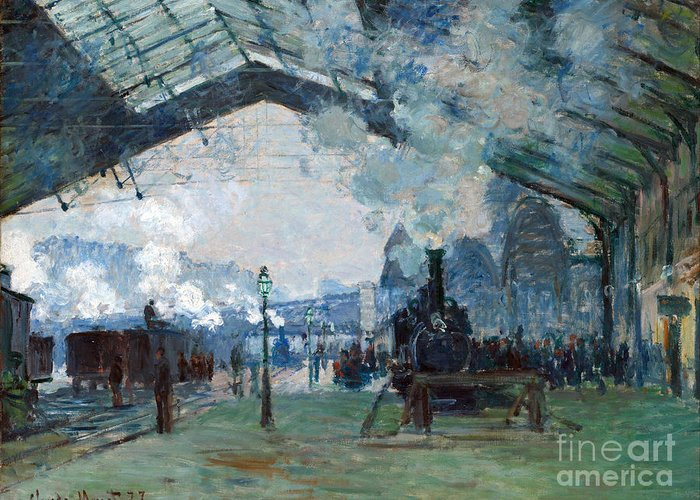 Claude Greeting Card featuring the painting Arrival Of The Normandy Train Gare Saint-lazare by Claude Monet