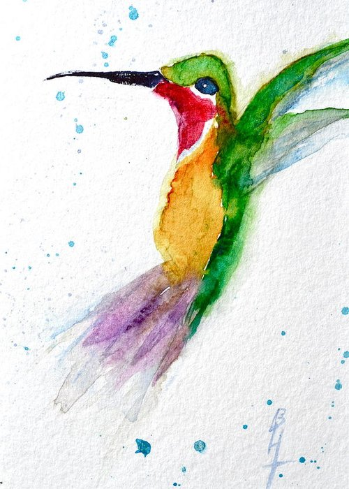 Hummingbird Greeting Card featuring the painting Arriving by Beverley Harper Tinsley
