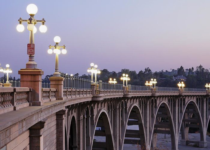 Arch Greeting Card featuring the photograph Arroyo Seco Bridge Pasadena by S. Greg Panosian
