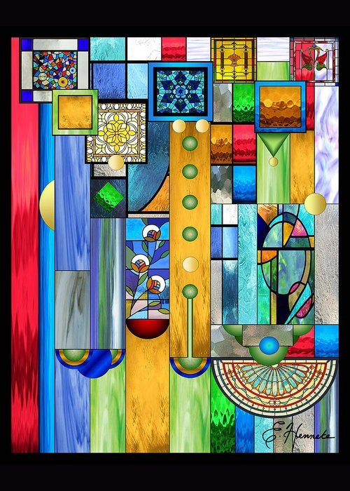 Art Deco Stained Glass Greeting Card featuring the mixed media Art Deco Stained Glass 1 by Ellen Henneke