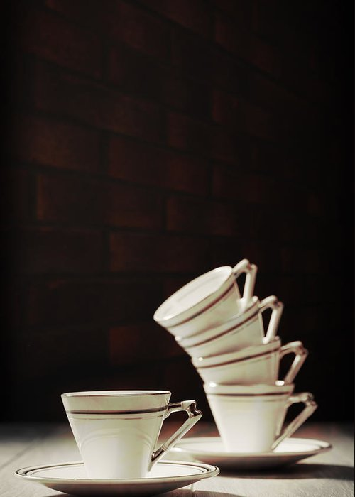 Stack Greeting Card featuring the photograph Art Deco Teacups by Amanda Elwell