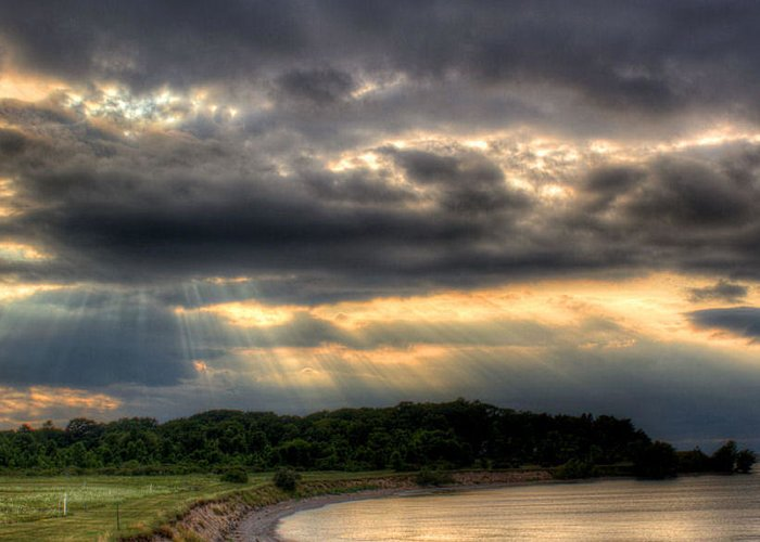Lake Ontario Greeting Card featuring the photograph Art For Crohn's Lake Ontario Sun Beams by Tim Buisman