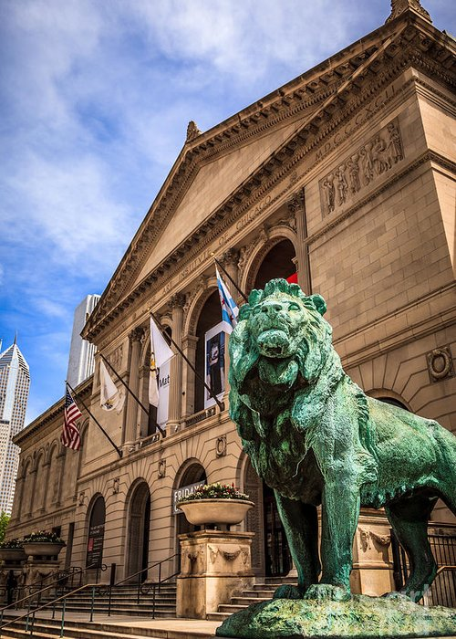 America Greeting Card featuring the photograph Art Institute Of Chicago Lion Statue by Paul Velgos