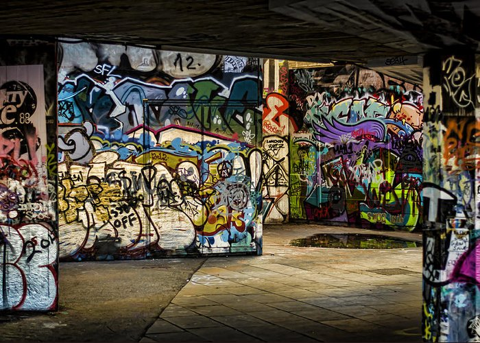 Graffiti Greeting Card featuring the photograph Art Of The Underground by Heather Applegate