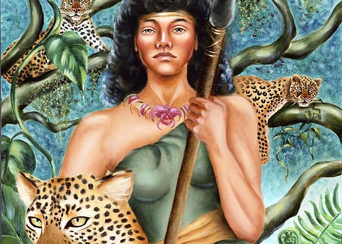Artemis Greeting Card featuring the painting Artemis by Karin Leonard