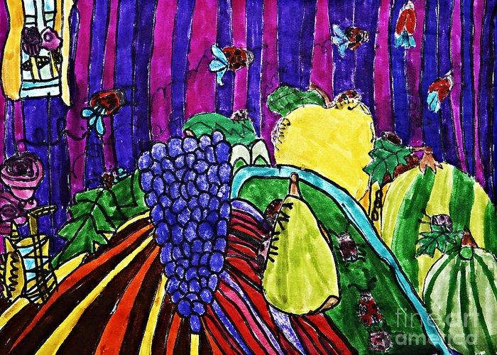 Fruit Greeting Card featuring the drawing Arthropod Intrusion by Stephanie Ward