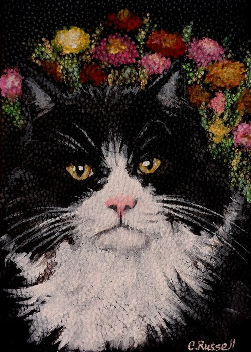 Tuxedo Cat Greeting Card featuring the painting Artie by Carol Russell