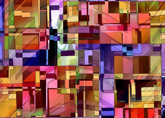 Abstract Greeting Card featuring the digital art Artificial Boundaries by Ginny Schmidt