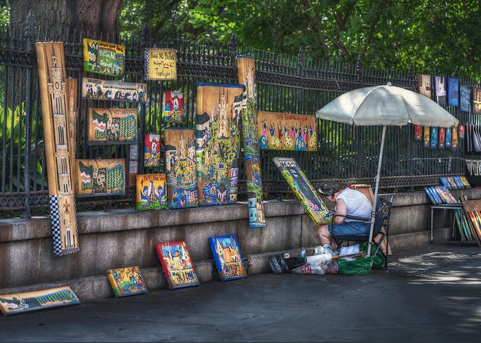 Jackson Square Greeting Card featuring the photograph Artist At Work by Brenda Bryant