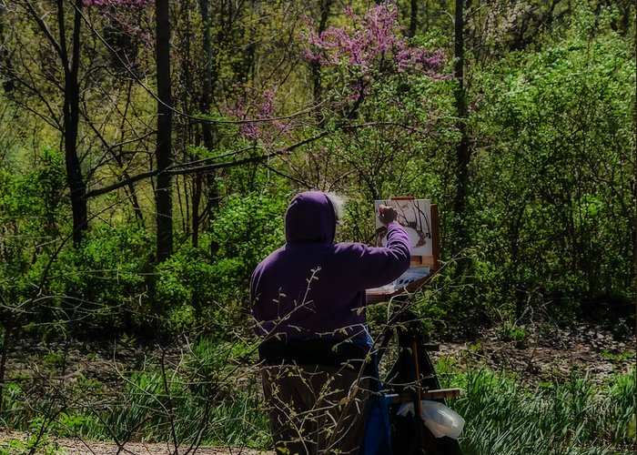 Heron Heaven Greeting Card featuring the photograph Artist At Work by Edward Peterson