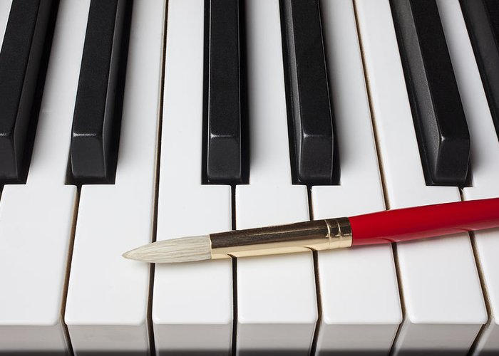 Artist Greeting Card featuring the photograph Artist Brush On Piano Keys by Garry Gay