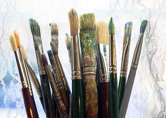 Artist Greeting Card featuring the photograph Artist Paintbrushes by Garry Gay
