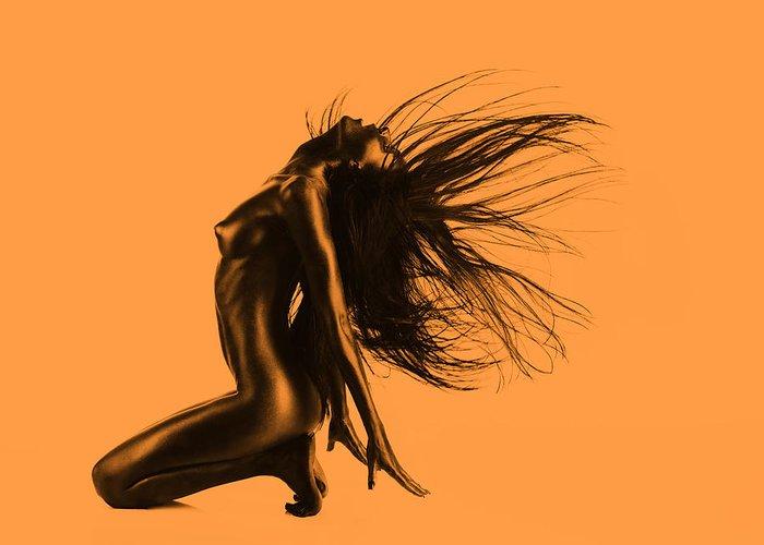 Orange Greeting Card featuring the pyrography Artistic Nude Orange by Dan Comaniciu