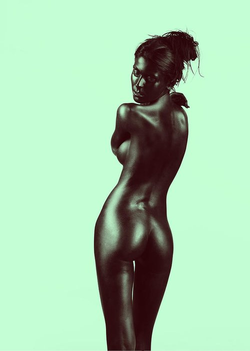 Green Greeting Card featuring the pyrography Artistic Nude Young Woman On Green Background by Dan Comaniciu