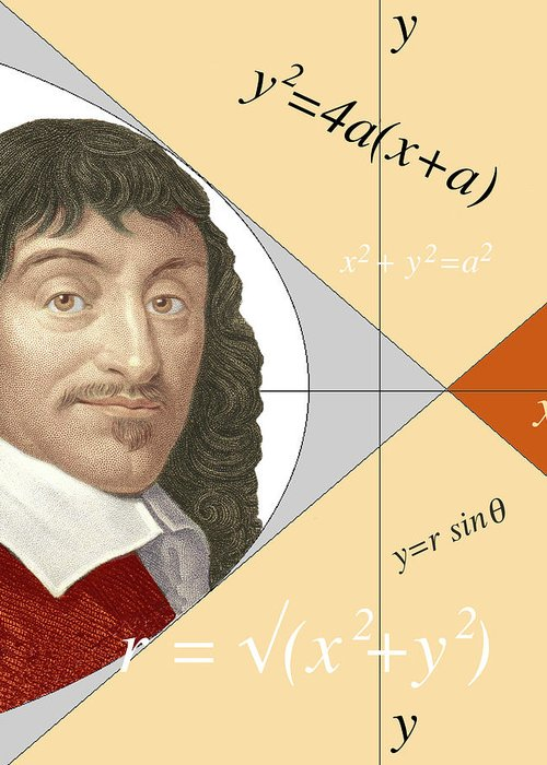 Descartes Greeting Card featuring the photograph Artwork Of Rene Descartes With Equations And Lines by Sheila Terry/science Photo Library