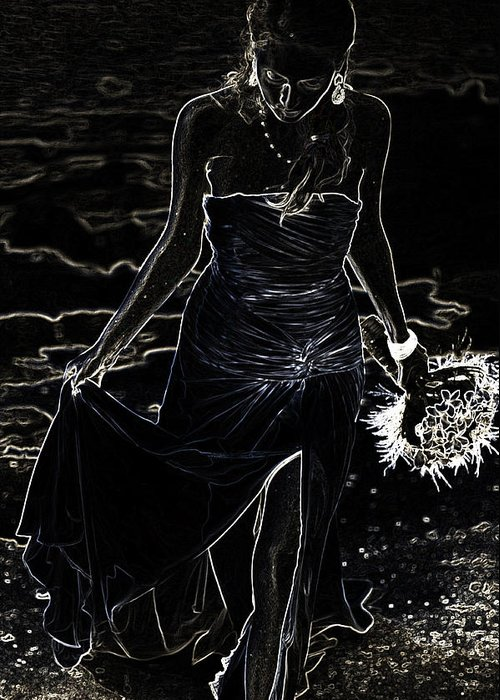 Woman Greeting Card featuring the photograph As Aphrodite Coming From Sea Foam. Black Art by Jenny Rainbow