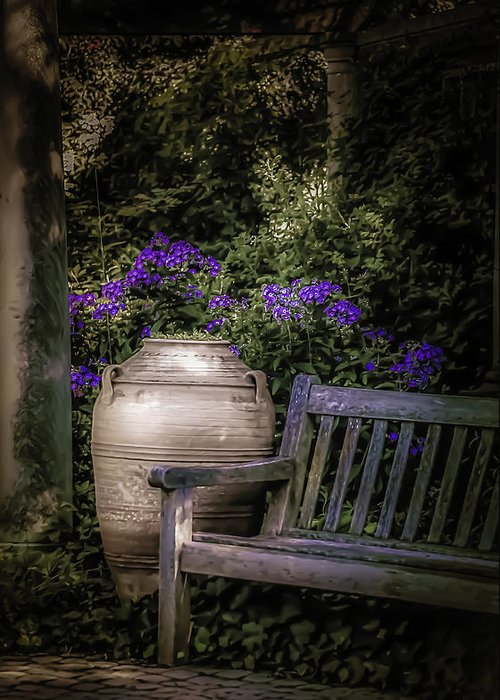 Garden Greeting Card featuring the photograph As Evening Falls by Julie Palencia