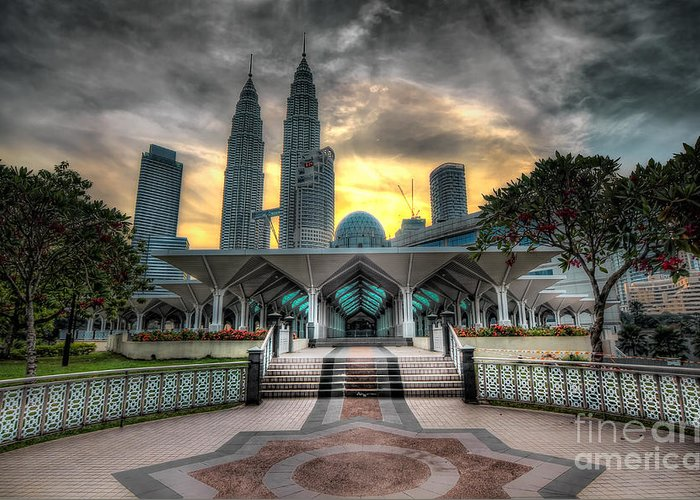 Mosque Greeting Card featuring the photograph As Syakirin Mosque And Petronas Tower by Jay Fuerzas