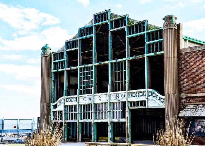 Asbury Greeting Card featuring the photograph Asbury Park Casino - My City In Ruins by Bill Cannon