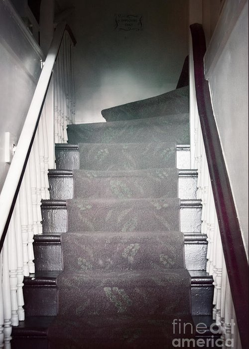Stairs; Staircase; Up; Down; View; Steps; Wood; Wooden; Details; Railing; Rail; House; Home; Inside; Indoors; Banister; Painted; Carpet; Runner; Dark; Darkness Greeting Card featuring the photograph Ascend by Margie Hurwich