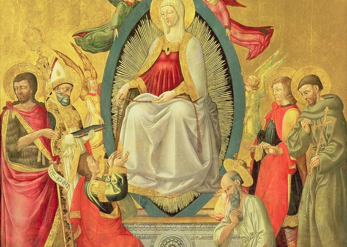 Assumption Greeting Card featuring the painting Ascension Of The Virgin, 1465 by Neri di Bicci
