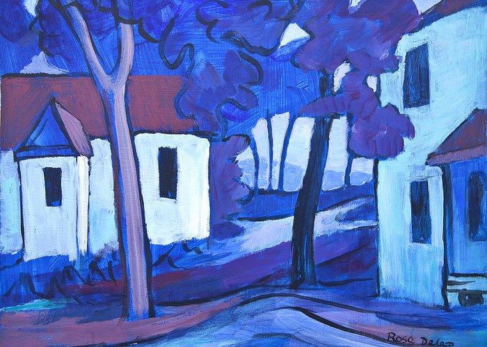 Painting Greeting Card featuring the painting Ashcroft Manor Buildings by Theresa Tahara