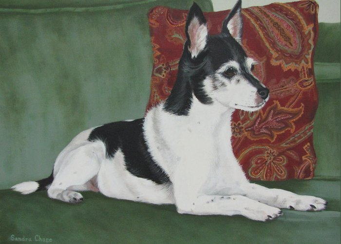 Dog Greeting Card featuring the painting Ashley On Her Sofa by Sandra Chase