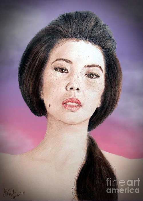 Freckle Faced Asian Beauty Greeting Card featuring the drawing Asian Beauty Fade To Black Version by Jim Fitzpatrick