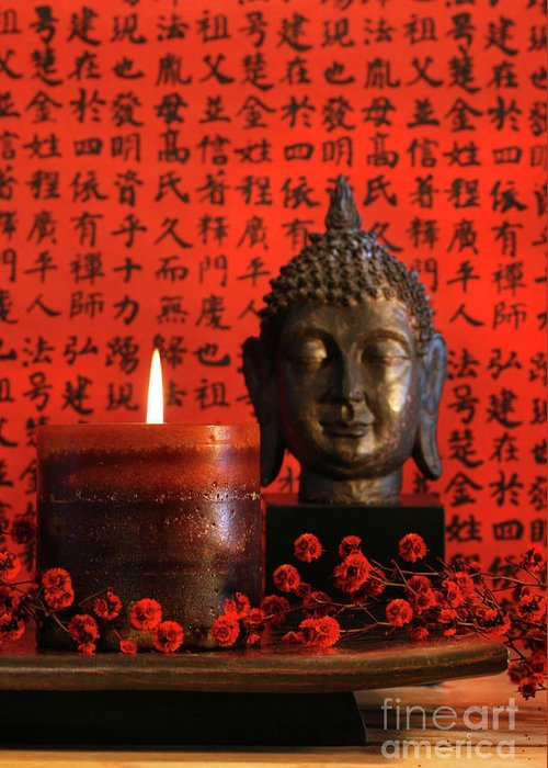 Art Greeting Card featuring the photograph Asian Candle With Red Orential Background by Sandra Cunningham