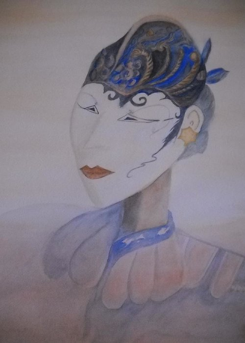 Asian Mask Greeting Card featuring the painting Asian Mask by Marian Hebert