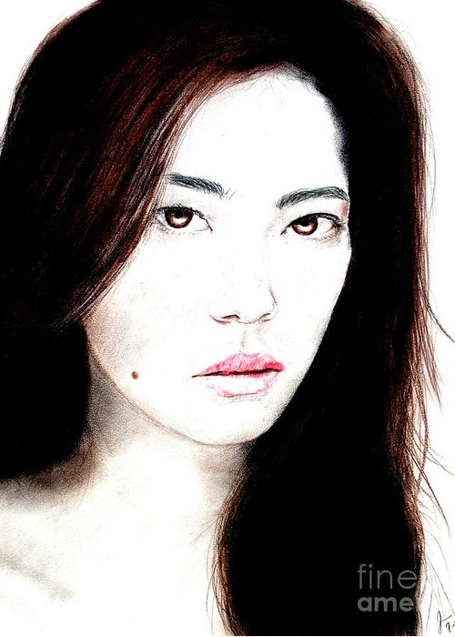 Freckle Faced Asian Beauty Greeting Card featuring the drawing Asian Model II by Jim Fitzpatrick