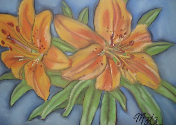 Lilies Greeting Card featuring the pastel Asiatic Lilies by Kathy Mota