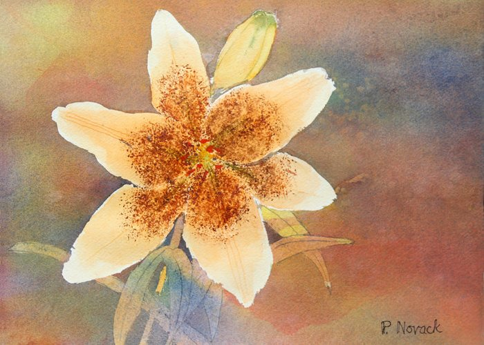 Lily Greeting Card featuring the painting Asiatic Lily by Patricia Novack