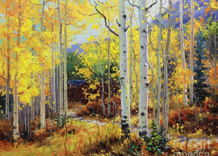 Durango Greeting Card featuring the painting Aspen Cabin by Gary Kim