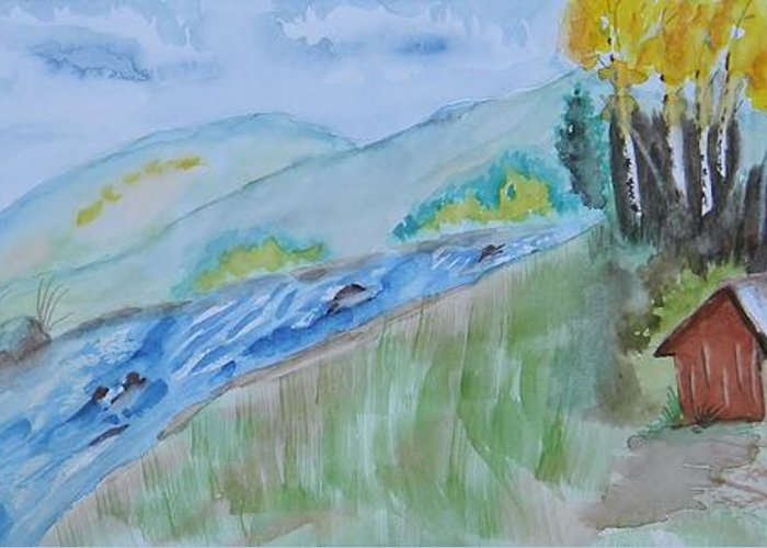 Aspen Cabin Greeting Card featuring the painting Aspen Cabin by Warren Thompson