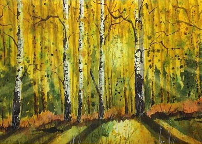Greeting Card featuring the painting Aspen Glow by Tim Oliver