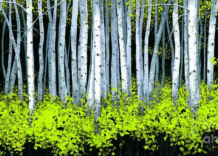 Aspens Greeting Card featuring the painting Aspen II by Michael Swanson