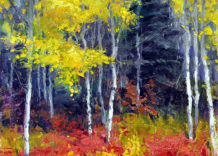 Wallis Greeting Card featuring the painting Aspen No.1 by Eric Wallis