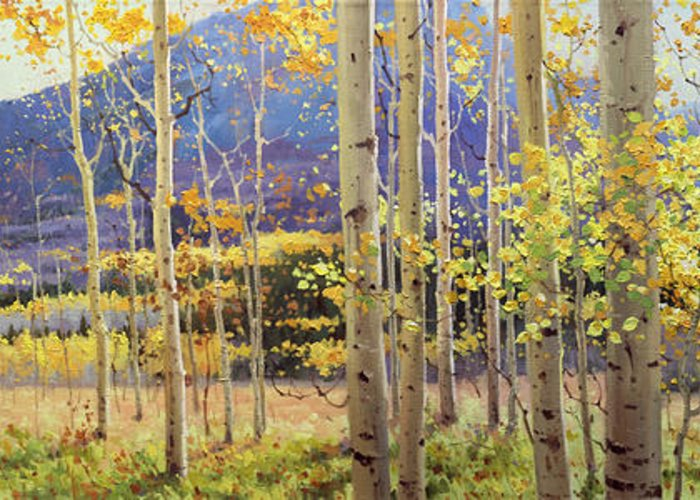 Oil Canvas Prints Contemporary Original Aspen Tree Landscape Painting Giclee Fine Art Print Paper Santa Fe Famous Architecture Magical Rocky Mountains Fine Art Prints Gary Kim New Mexico Framed Acrylic Metal Phone Cases Iphone Galaxy Greeting Cards Posters Originals Fall Aspen Panorama Aspen Grove Panorama Colors Sunset Panoramic Vistas Valley Fall Hiking Trails Colorado Forest Autumn Foliage Trunks National Forest Small Birch Trees Panorama Oil Painting Photo Sunset Fields Flowers Scene Metal Greeting Card featuring the painting Panorama view of Aspen Trees by Gary Kim