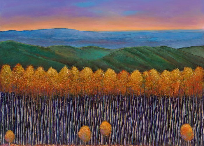 Autumn Aspen Greeting Card featuring the painting Aspen Perspective by Johnathan Harris