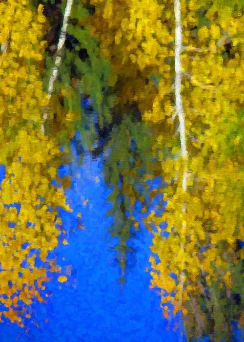 Autumn Close Up Image Of Yellow Colored Aspen And Pine Trees And Blue Sky Reflecting In Water Greeting Card featuring the photograph Aspen Reflection by Pat Now