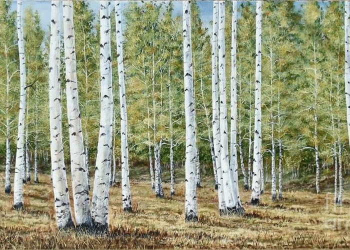Fall Painting Greeting Card featuring the painting Aspen South Saddle Blue Mtn 24 X 48 by Dana Carroll
