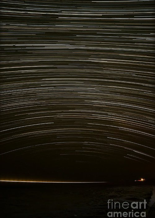Star Greeting Card featuring the photograph Assateague Star Trails by Benjamin Reed